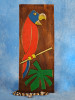 """""""BIRD & PALM LEAF"""" RELIEF - 20"""" CARVED & PAINTED - OCEANIC ART"""