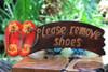 """""""Please Remove Shoes"""" Door Sign 16 inch - Yellow Hibiscus"""