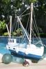 """FISHING BOAT"" BLUE COASTAL 20"" - HAND CARVED - COASTAL DECOR"