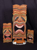 "Set of 3 Tiki Masks Love Tiki Idol 20"", 12"", 8"" - Hand Carved 