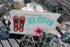 """ALOHA"" W/ SLIPPERS - WHITE WASHED DRIFTWOOD SIGN 12"""