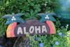 """WELCOME SIGN """"ALOHA """" W/ PALM TREES - COASTAL DECOR"""