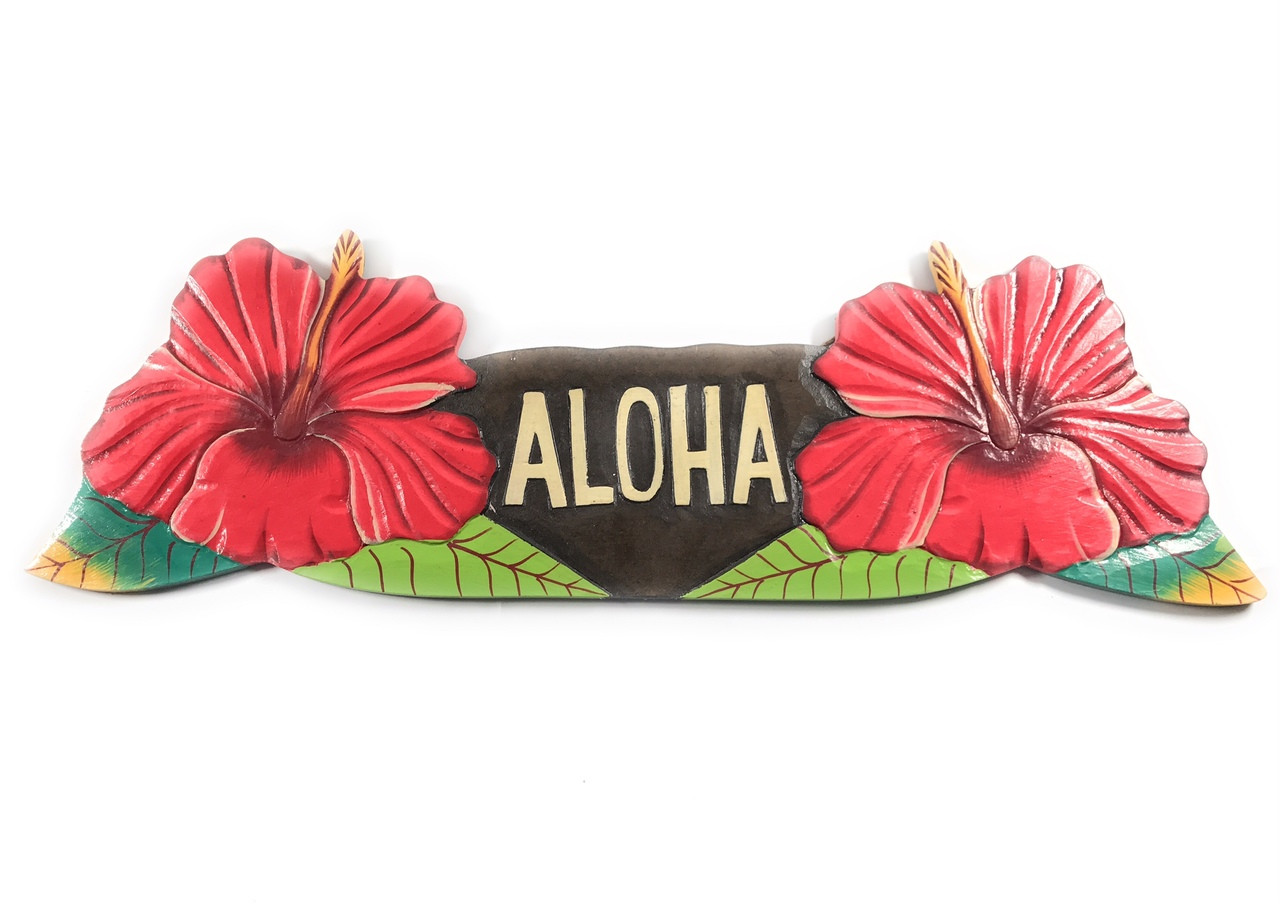 Aloha Sign W Red Hibiscus Flowers Hand Painted Hawaii