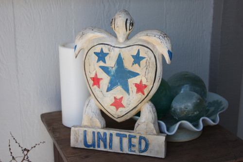 "Wooden Turtle ""United"" 12 inch - Americana Decor"