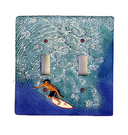 DOUBLE SWITCH PLATE COVER - PIPELINE SURFER