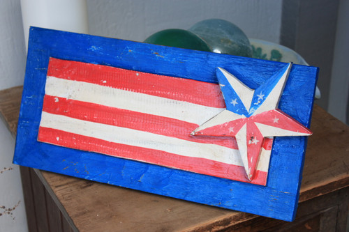 "Wooden U.S.A Flag Hanging Sign 16"" - Americana Decor 2"