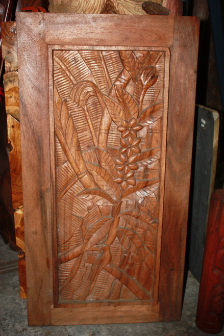"Carved Wood Panel 40"" Floral Tropical Design | #bla6052100"