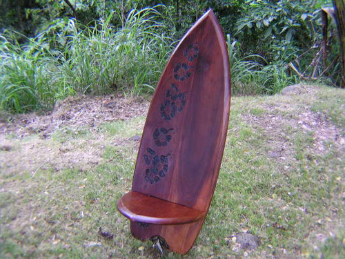 TEAK SURF CHAIR HIBISCUS DESIGN - TROPICAL DECORATION