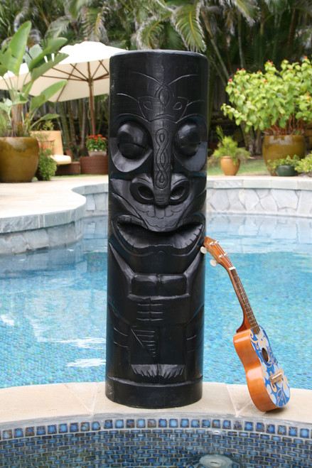 "CHIEF TIKI BLACK TIKI TOTEM - 40"" HAWAIIAN TIKI DECOR"