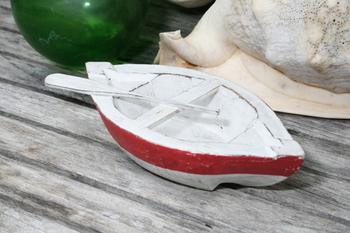 """NAUTICAL BOAT W/ PADDLE"" RED COASTAL 8"" - HAND CARVED - COASTAL DECOR"