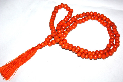 Tassel Necklace Buddha Orange Wooden Beads Jewelry | #cik3601o