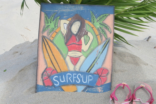 """SURF'S UP"" PAINTED SURF STORYBOARD 14"" X 14"" - SURF DECOR"