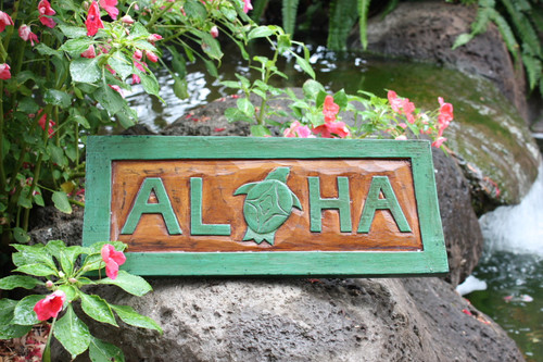 """ALOHA"" TURTLE TIKI SIGN 16"" CARVED/PAINTED - HOME DECOR"