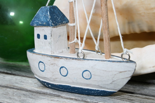 """BOAT HOUSE"" BLUE COASTAL 6"" - HAND CARVED - COASTAL DECOR"