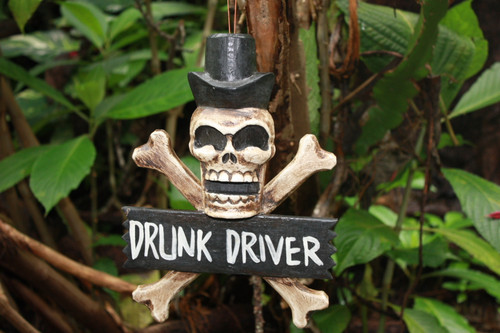 """DRUNK DRIVER"" SKULL AND BONES SIGN 12"" - CROSS BONES DECOR"