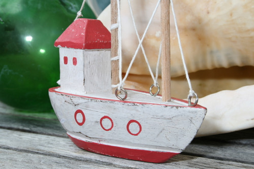 """BOAT HOUSE"" RED COASTAL 6"" - HAND CARVED - COASTAL DECOR"