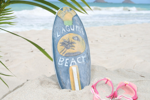 """LAGUNA BEACH"" SURF SIGN W/ FIN 14"" - SURFING DECOR"