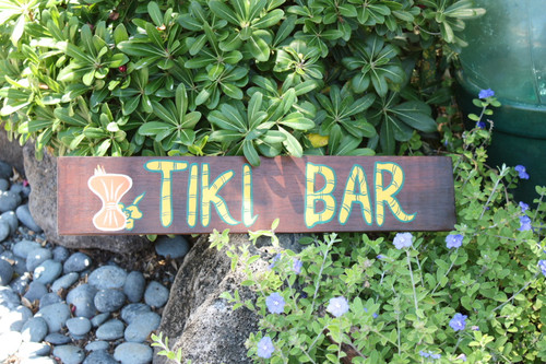 "Wooden Tiki Bar Sign 20"" - Tiki Bar Decor 