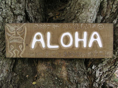 """ALOHA"" TIKI SIGN W/ PETROGLYPH - SURF DECOR"