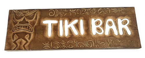 "Tiki Bar Sign 24"" w/ Petroglyph Tiki Design 