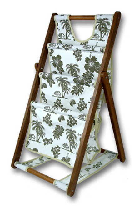 3 LEVEL CANVAS MAGAZINE BASKET - GREEN - ISLAND DECOR