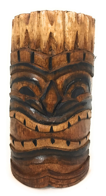 "Happy Tiki Mask 8"" - Antique Finish Hand Carved 