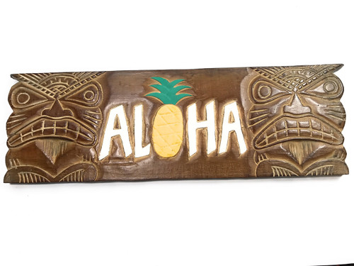 """ALOHA"" Tiki Sign w/ Pineapple 24"" - Hand Carved 