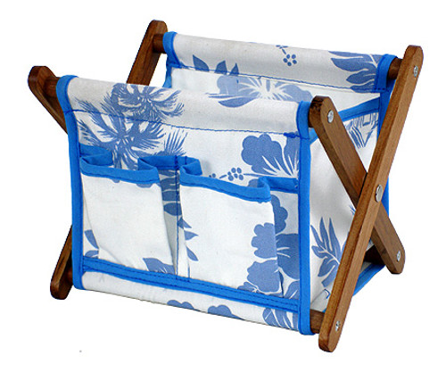CANVAS STATIONARY BASKET - BLUE - OFFICE DECOR