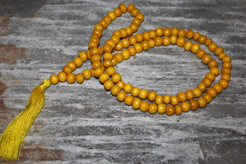 Tassel Necklace Buddha Yellow Wooden Beads Jewelry | #cik3601y