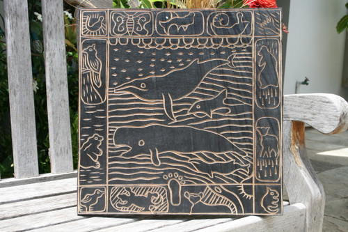 """WHALE SCENE"" BLACK & WHITE WOODEN RELIEF"