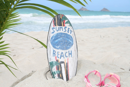 """SUNSET BEACH"" SURF SIGN W/ FIN 14"" - SURFING DECOR"