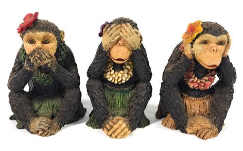 "Set of 3 Hula Girl Monkeys - ""Speak Hear See"" No Evil | #kc40518trio"