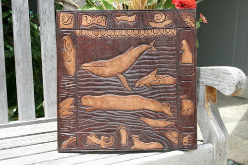 """WHALE SCENE"" ANTIQUE FINISH - WOODEN RELIEF"