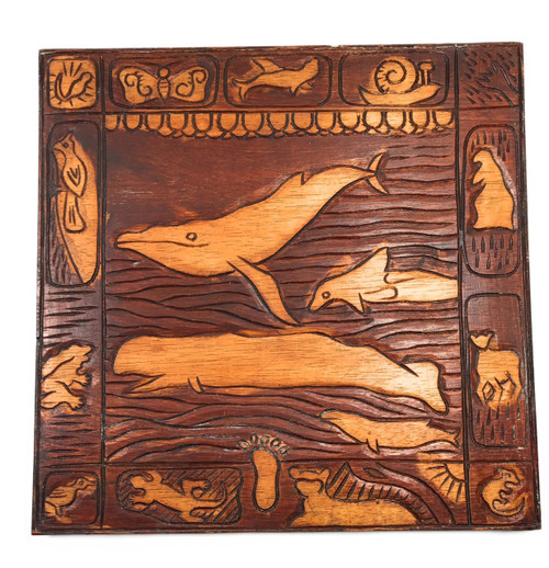 """Whale Scene"" Wooden Relief Storyboard 16"" X 16"" 