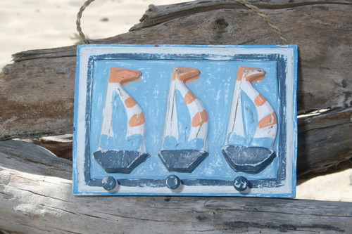 """SAIL BOAT"" HANGER - RUSTIC BLUE NAUTICAL 10"" - NAUTICAL DECOR"
