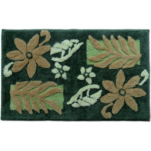 "Tiare Monstera Rug - Teal 21""x 34"" - Floral Design"