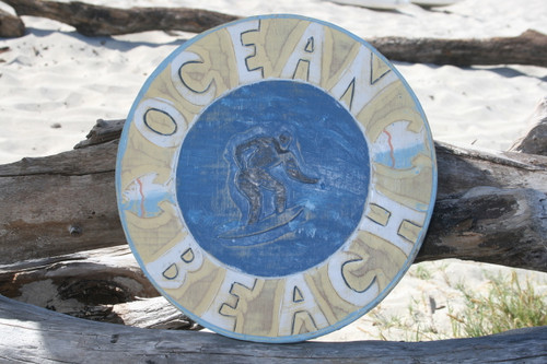 """OCEAN - BEACH"" SURF NAUTICAL SIGN 12"" - NAUTICAL SURF DECOR"