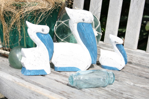 PELICAN SET OF 3 - BLUE COASTAL - BEACH DECOR