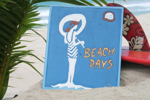 """BEACH DAYS"" VINTAGE NAUTICAL SIGN 14"" - NAUTICAL SURF DECOR"