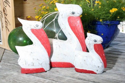 PELICAN SET OF 3 - RED COASTAL - BEACH DECOR