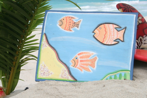 """FISH & SEA TREASURES"" PANEL 16"" CARVED/PAINTED - NAUTICAL DECOR"