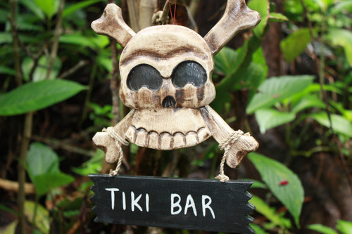 """TIKI BAR"" SKULL AND BONES SIGN - CROSS BONES DECOR"
