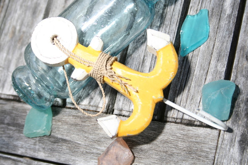 """ANCHOR"" DOOR HOOK - YELLOW COASTAL 6"" - COASTAL DECOR"