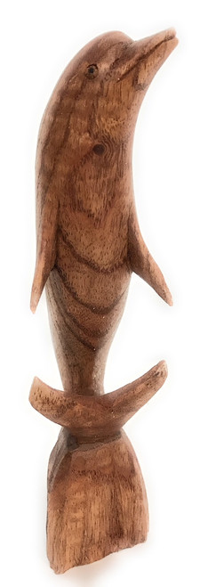 """Carved Dolphin Jumping 8"""" Stained - Hand Carved 
