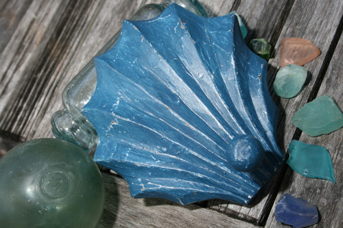"""SEA SHELL"" DOOR HOOK - BLUE COASTAL 6"" - COASTAL DECOR"