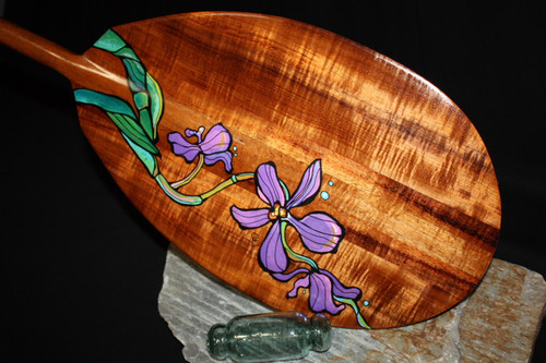 "Painted Hawaiian Flowers Koa Paddle 50"" T-Handle by C. Wilcox"