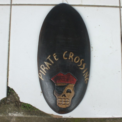 """PIRATE CROSSING"" PIRATE SIGN - SURF PIRATE DECOR"