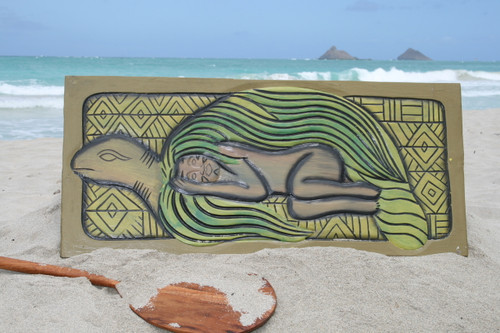 "TURTLE ""HONU, SLEEPING BEAUTY"" 30"" X 15"" - ENDANGERED SPECIES"