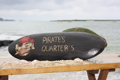 """PIRATE'S QUARTERS"" PIRATE DECOR SIGN - SURF PIRATE ROOM"
