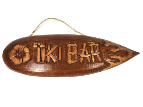 "Tiki Sign Surfboard w/ Hibiscus & Flame 20"" - Tiki Bar Decor 